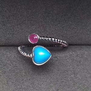 天然美国蓝松石 红宝石戒指 高瓷高蓝  30