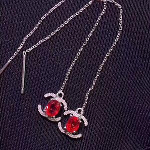 37 天然缅甸鸽血红红宝石耳坠工字形款一对