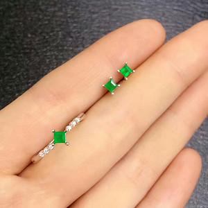 42 天然祖母绿宝石耳钉 戒指一套