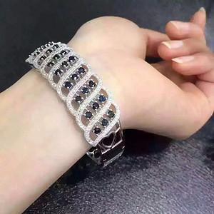 53 925银镶嵌天然蓝宝石手镯奢华镶嵌豪华版