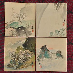 日本粉彩水墨画四幅
