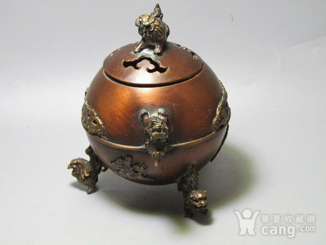 紫铜双龙 三足 龙凤呈祥 带款熏香炉图2