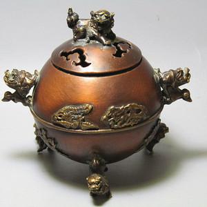 紫铜双龙 三足 龙凤呈祥 带款熏香炉