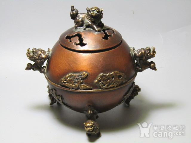 紫铜双龙 三足 龙凤呈祥 带款熏香炉图1