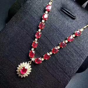 126 纯天然缅甸红宝石项链