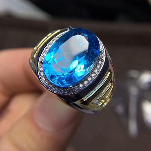 130 925银镶嵌斯里兰卡托帕蓝宝男戒指