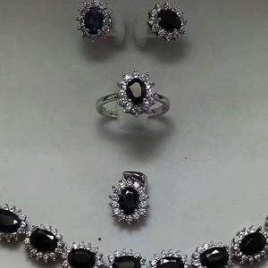 150 935银镶嵌山东蓝宝石4件套