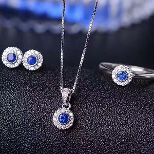 151 天然斯里兰卡蓝宝石5A级套装
