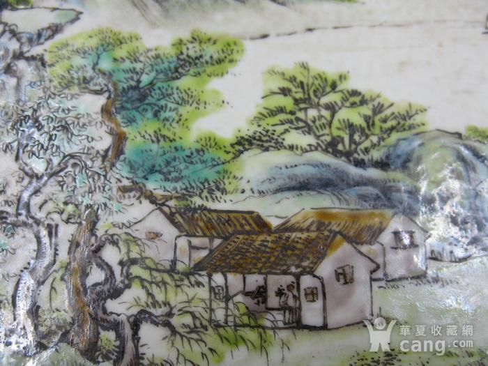 绛彩山水人物瓷盘图8
