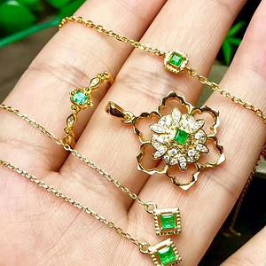 160 天然哥伦比亚祖母绿宝石925银镶嵌4件套