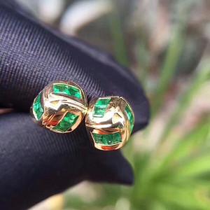171 纯天然哥伦比亚祖母绿宝石耳钉