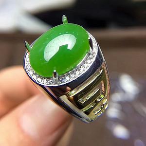 177 925银镶嵌和田碧玉戒指