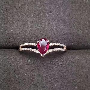 18K黄金镶钻石红宝石戒指