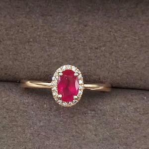 189 18K黄金镶纯天然红宝石戒指佩钻石20颗