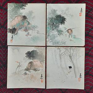日本风景人物画四幅