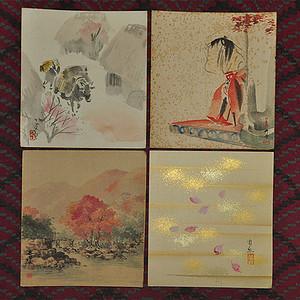 日本粉彩画四幅