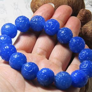 回流 宝石蓝玛瑙 如意纹圆珠手串