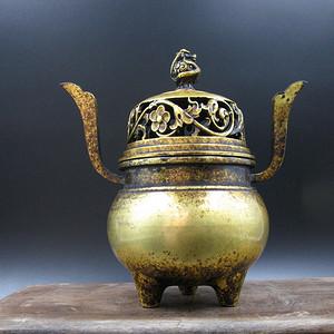 欧洲回流 紫铜鎏金龙纹薰炉