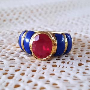欧洲回流6.9克红宝石老纯银鎏金戒指