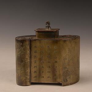 欧洲回流黄铜人物刻字刻花茶叶罐
