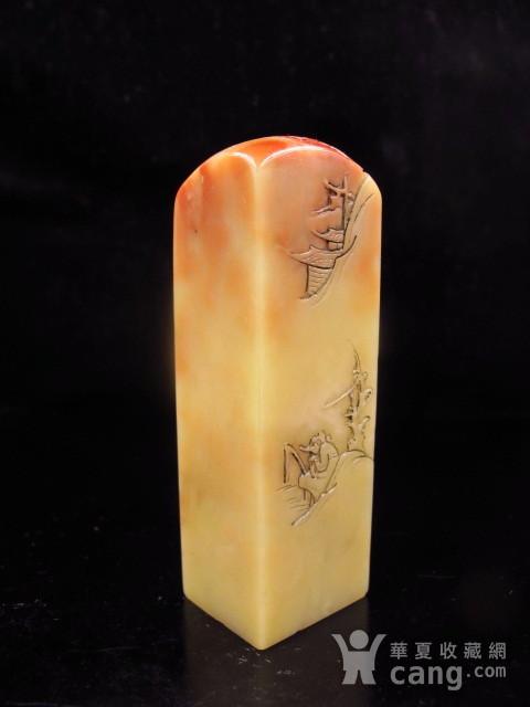 精品 寿山老料 蜡质地红黄芙蓉石博意大章图1