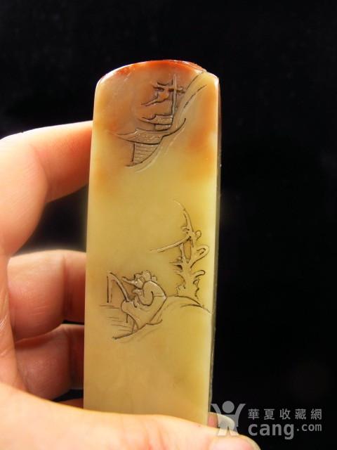 精品 寿山老料 蜡质地红黄芙蓉石博意大章图5