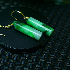 18k金镶嵌冰润满绿玲管耳环
