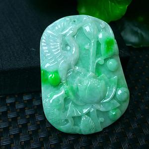 冰润满绿鹤寿延年吊坠