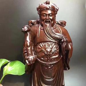 127 文财神黑檀实木雕刻佛像 高31厘米