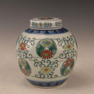 欧洲回流民国时期青花斗花卉彩罐