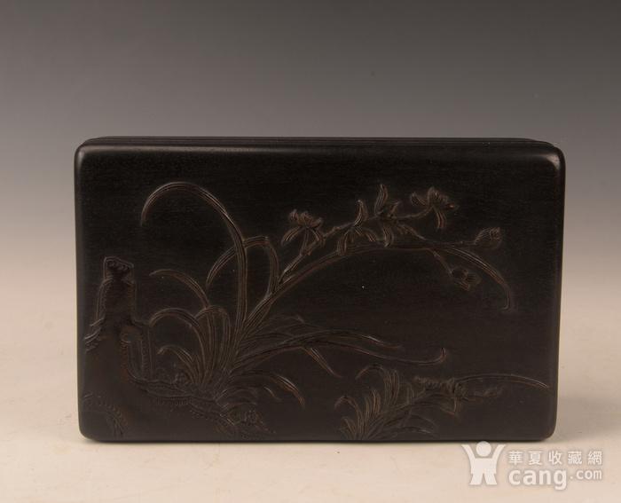 欧洲回流紫檀雕花卉盒图1