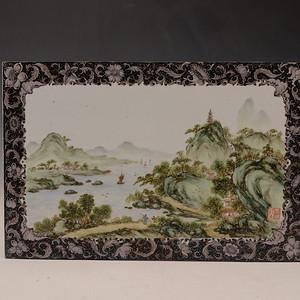欧洲回流粉彩山水瓷板画
