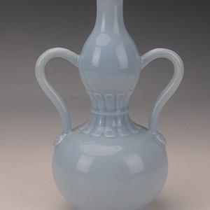 欧洲回流天蓝釉双系葫芦瓶