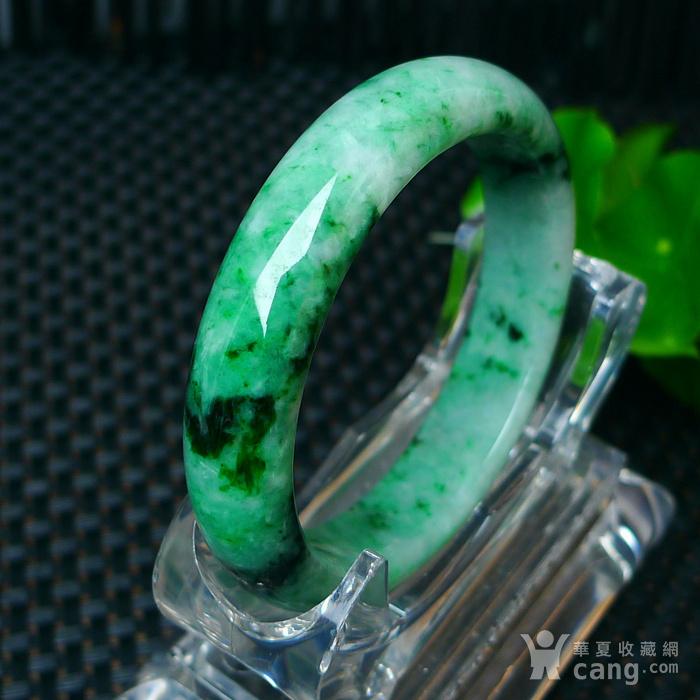 冰润满绿宽边手镯图4