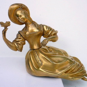 珍品 18世纪法国铜鎏金贵妇铜造像