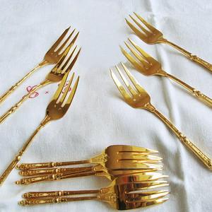欧洲回流19世纪餐具纯银鎏金12件套
