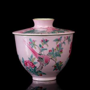 14清晚粉彩花鸟纹盖碗