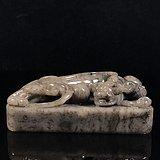 台湾回流,绝无仅有的品种石 精品寿山石老矿水墨蝌蚪纹玛瑙冻古兽印章!