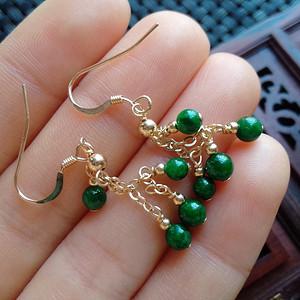 14k金镶嵌冰润满绿圆珠耳环