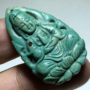 民国 原矿 高瓷 绿松石 观音大士 挂件 工艺不错 包浆老厚 色泽漂亮