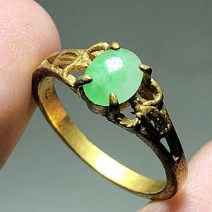 回流 晚清 翡翠a货 冰种满绿 铜鎏金 戒指 包浆老厚 翡翠种水非常好