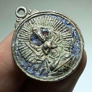晚清 藏传 铜鎏银 添彩 千手观音 佛牌 背面经文 包浆老厚 手工制作