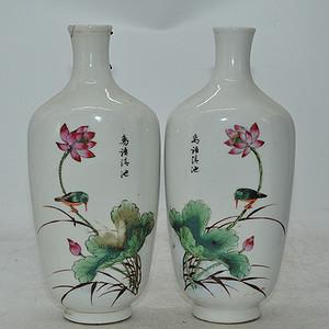 花鸟粉彩对瓶