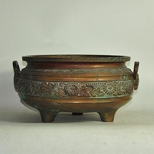 手工攒刻铜香炉