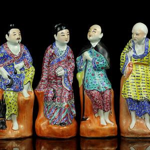 37民国粉彩渔樵耕读人物瓷像
