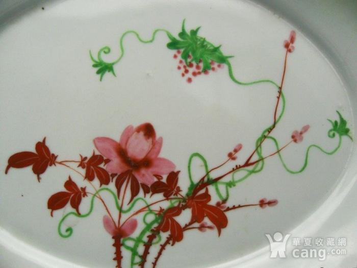 32.民国 粉彩花卉葡萄椭圆形大盘图3