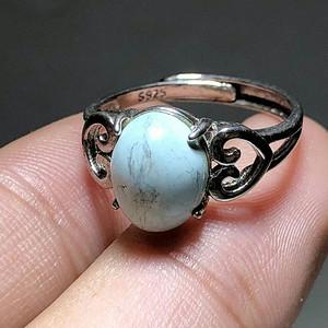 天然 原矿绿松石 戒指 925银镶嵌 绿松石 密度好 花纹漂亮 戒面1