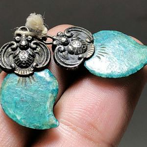 清 满脑 虬角 福寿 耳坠 手工雕刻 包价老厚 *壳自然 过去贵族之物