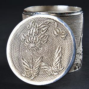 欧美回流 精美纯银花丝松鹤纹小盖筒