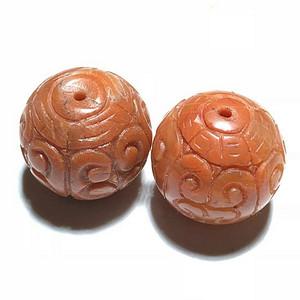 清 和田白玉 一级白 饕餮纹 方楞珠 手工雕刻 工艺十分精细 包浆老厚